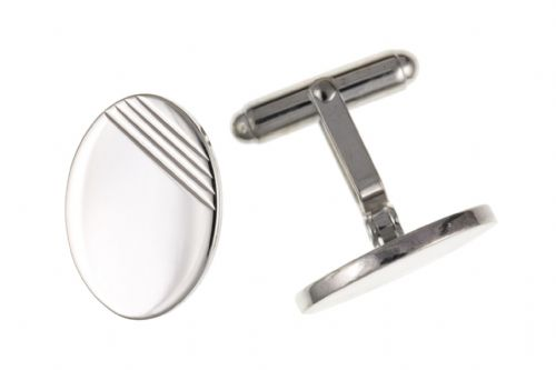 Sterling Silver Part Engraved Oval Patterned Cufflinks